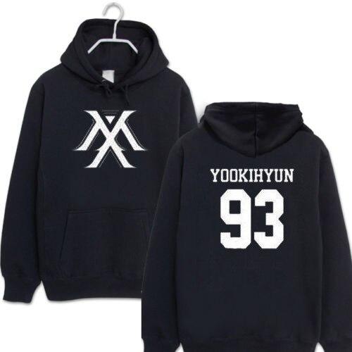 MONSTA X Kpop Same Unisex Loose Pullover Long Sleeve Black Hoodies Black Sweatshirt Kpop Style Jacket