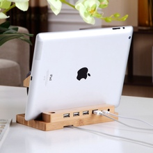 Multifunctional Real Bamboo Wood Charging Stand