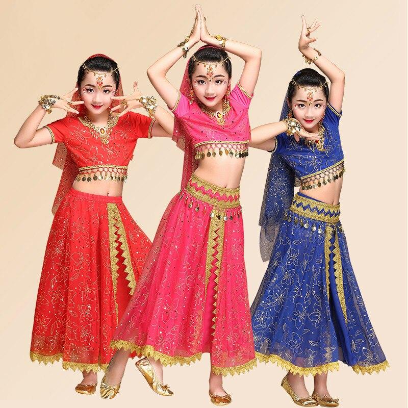 Costumes de danse indienne pour enfants nouveaux vêtements de Performance professionnelle de danse du ventre enfants fille concours de scène Costumes H4526