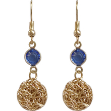 S925 silver hook stylish geometric round metallic blue crystal earrings