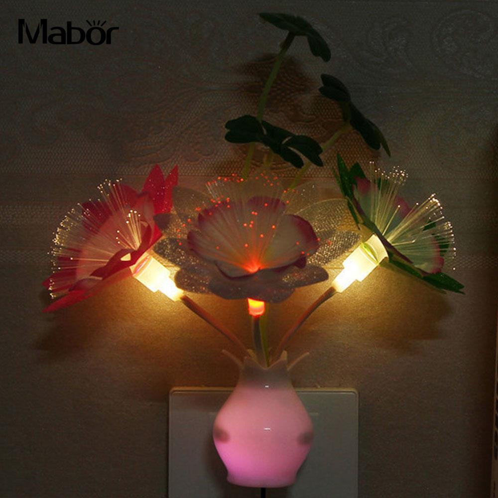 Mabor LED Lamp Creative Christmas Gifts Flowerpot Indoor Decor Gypsophila Rose US Plug Room Lighting Night Light nachtlampje