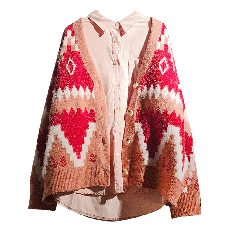 H.SA Women Casual Sweater Cardigans V neck Loose Oversize Jumpers Korean Spring Autumn Knit Cardigans Red Geometric Knit Coat