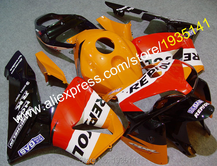 Hot Sales,Injection ABS Plastic For Honda F5 CBR600RR 2005 2006 CBR 600 RR 05 06 Repsol Motorcycle Fairing (Injection molding) abs injection fairings kit for honda 600 rr f5 fairing set 07 08 cbr600rr cbr 600rr 2007 2008 castrol motorcycle bodywork part