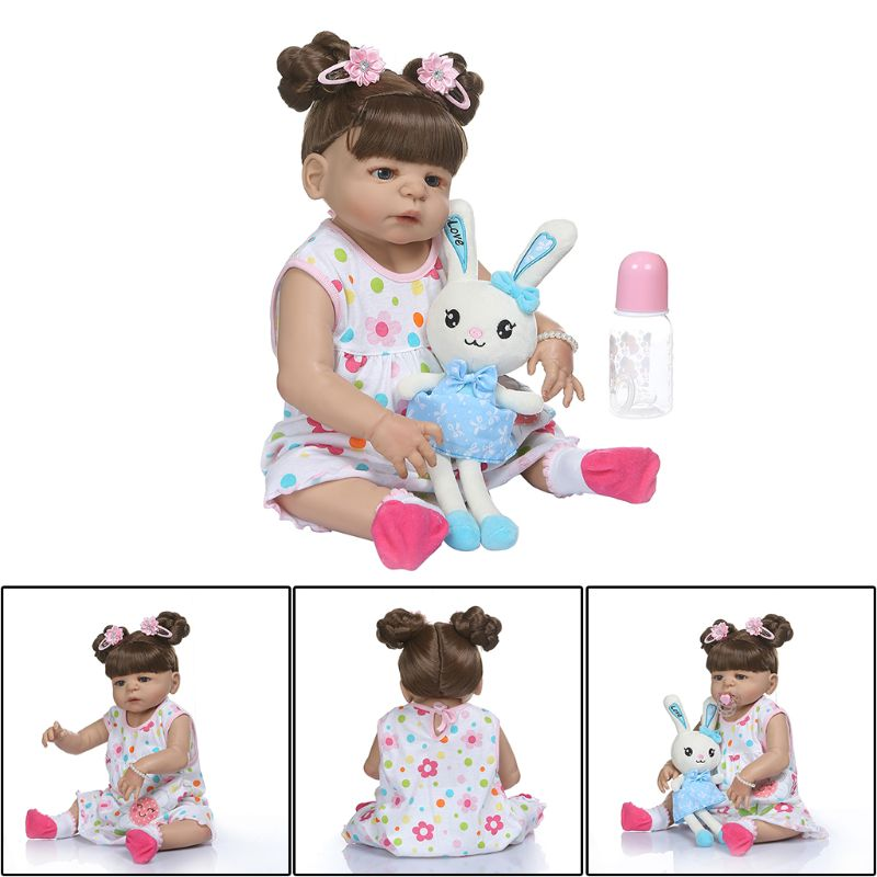 22in Soft Full Silicone Vinyl Newborn Babies Girl Lifelike Handmade Toy Realistic Reborn Doll For Children Birthday Xmas Gifts in Dolls from Toys Hobbies