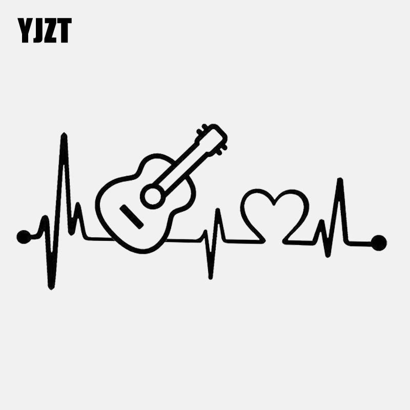 YJZT 14.9CM*6.7CM Fun Acoustic Guitar Heartbeat Vinyl Motorcycle Car Sticker Decal C22-1041