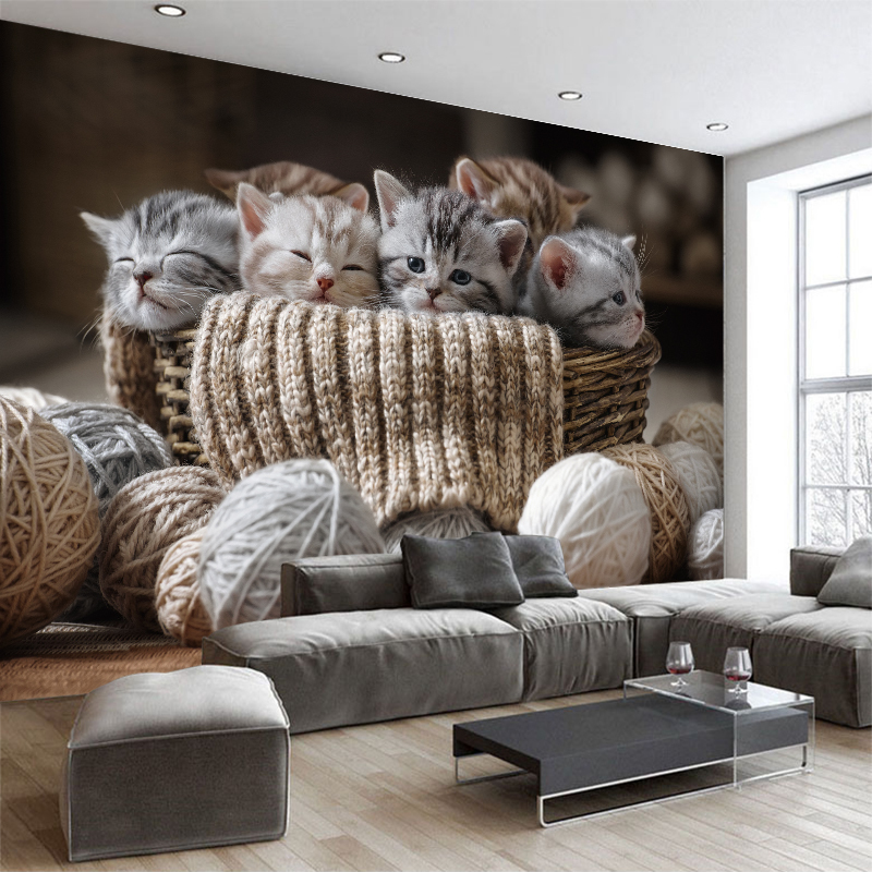 Custom 3d Wallpaper Cute Small Cats TV Sofa Background Wallpaper Living Room Bedroom Hotel Mural Gallery Decoration Wallpaper