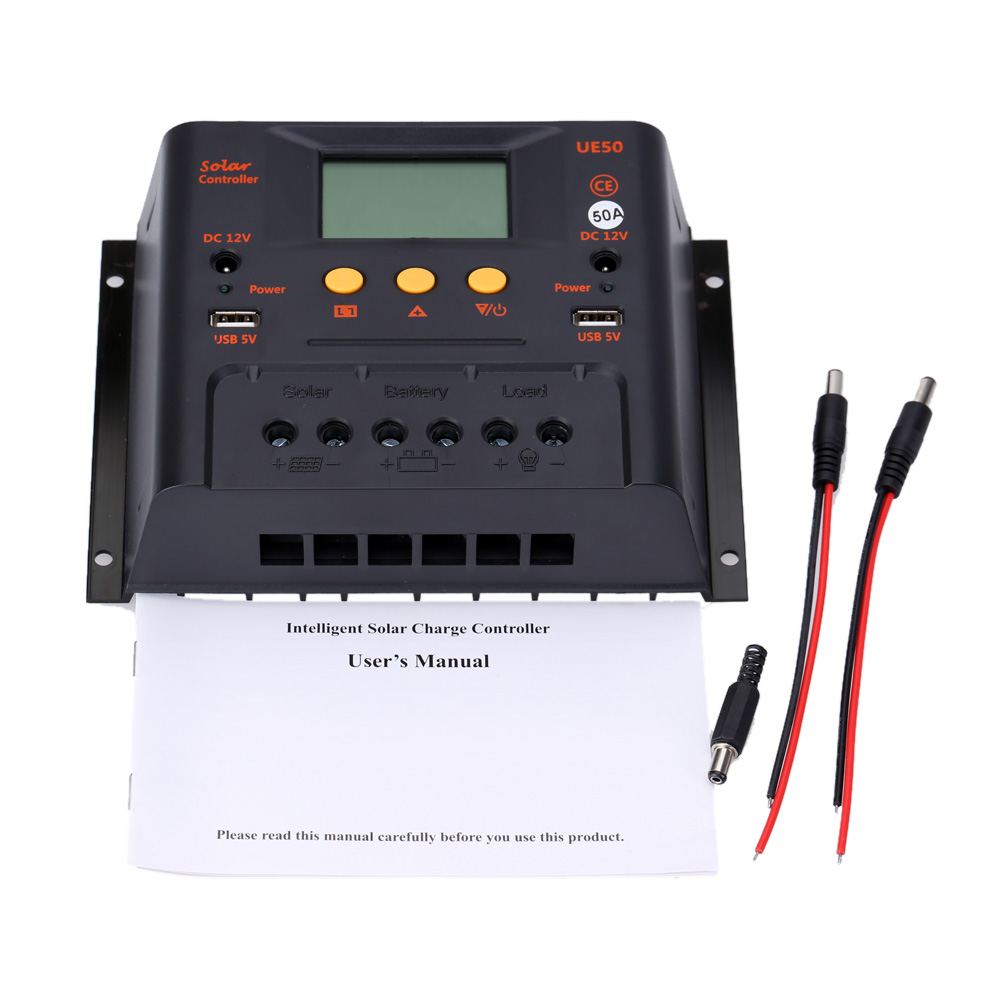 Intelligent PWM 50A Solar Controller 12V 24V LCD Display USB 5V DC 12V Solar Panel Battery Charge Regulator Safe Protection 60a pwm auto switch intelligent solar charger controller 12v 24v lcd display discharge with usb fr solar battery panel regulator