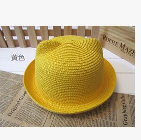 50pcs/lot fedex fast free shipping children lovely cat ear straw hat unisex casual boy girl sun hat candy color