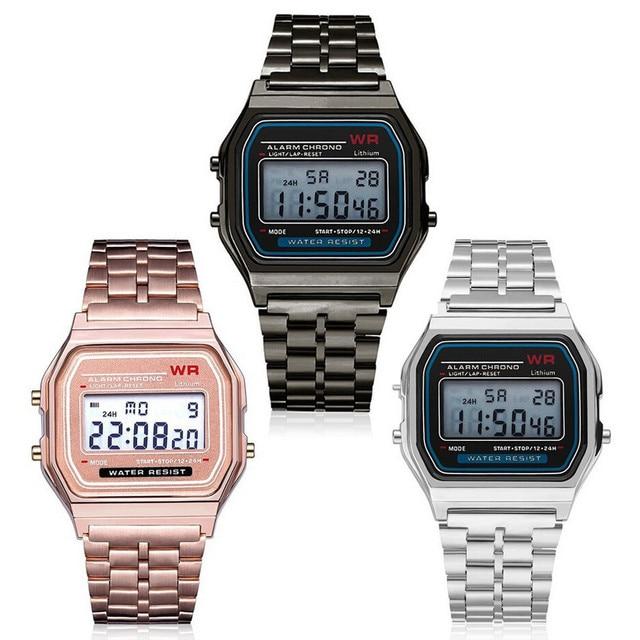 WR Women Men Wrist Watch Digital Waterproof Quartz Dress Golden LED Watches Man Electronic Watch Sports Watches
