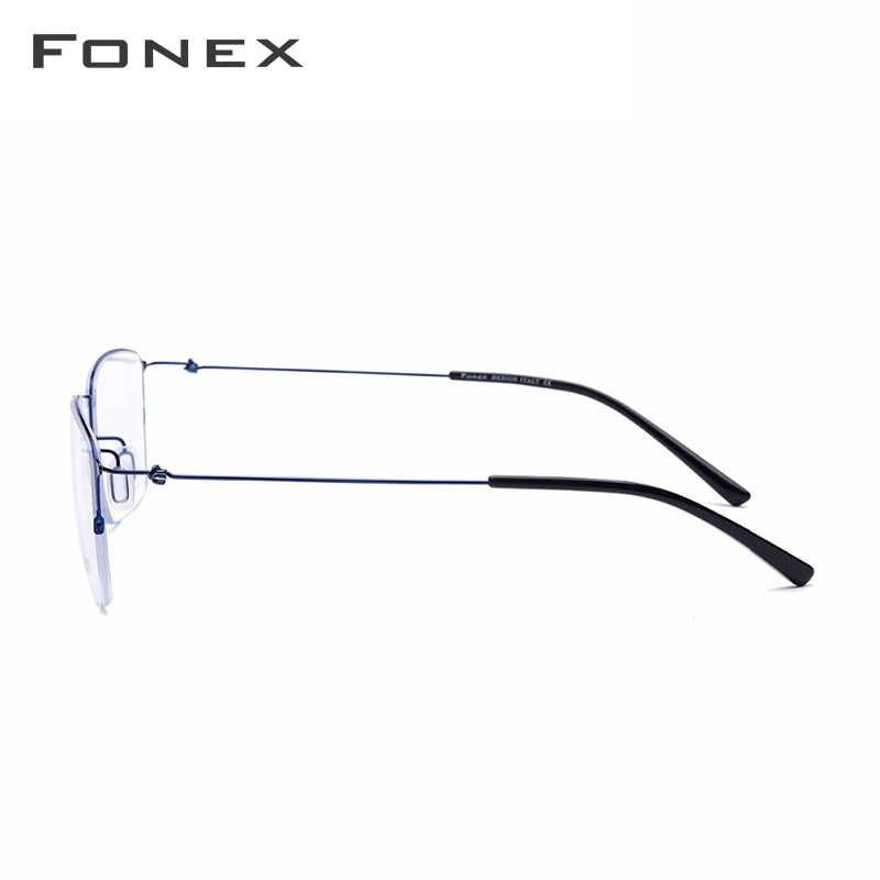31c5899ec7 ... De titanio gafas hombres Semi montura anteojos recetados mujeres miopía  marcos ópticos ultraligero coreano sin tornillos ...