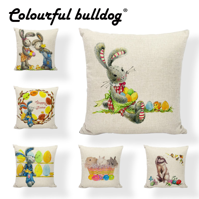 Colored Egg Retro Charming Cartoon Rabbit Cushion Cover 17Inch Butterfly Cherry Home Decorate Party for Happy Easter Pillow Case