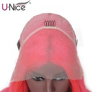 Image 5 - Unice Capelli 13x4 Caschetto Corto Rettilineo Parrucche 8 14 Inch Parrucca di Capelli Umani Anteriore Del Merletto di Colore Rosa Per donne nere Remy Bob Parrucche