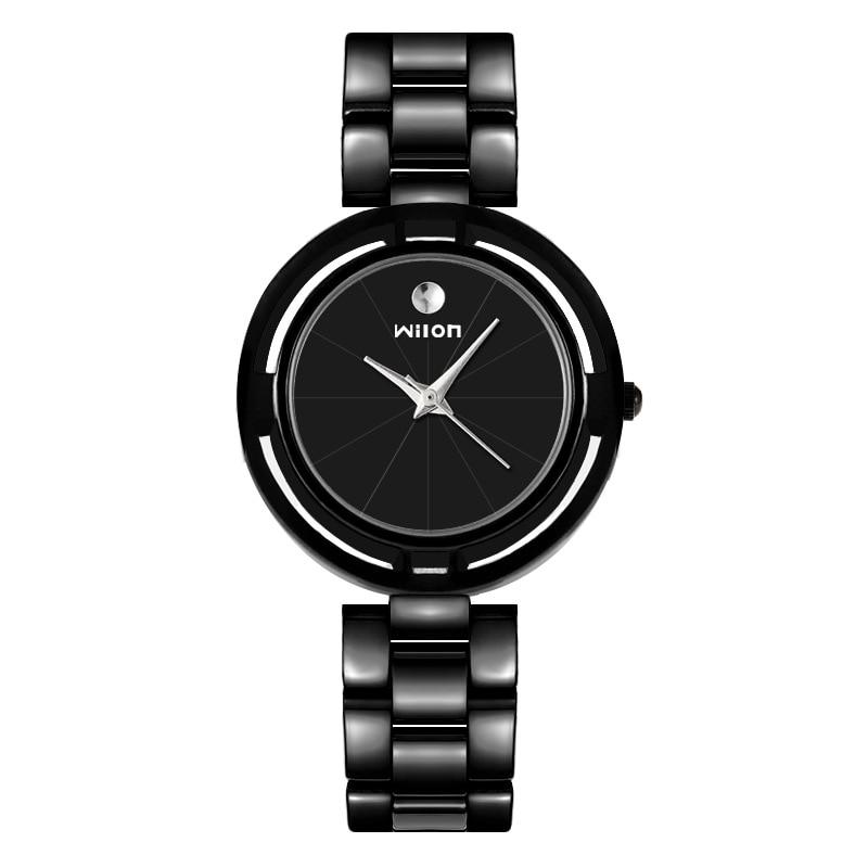 2018 Fashion Wilon Brand Top Quality Black White Stainless Steel Pair Watches Women Men Lovers Couple Dress Quartz Wristwatches
