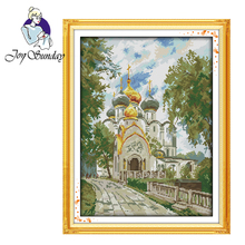 Joy Sunday,The new convent,cross stitch embroidery set,printing cloth kit,needlework,Scenery pattern cross