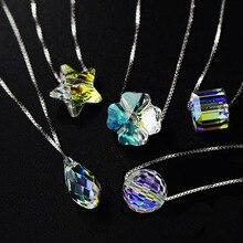 Meilleure Qualité 100% 925 sterling argent D'origine Cristaux De Swarovski Pendentif Colliers Femmes Main Maxi Collares