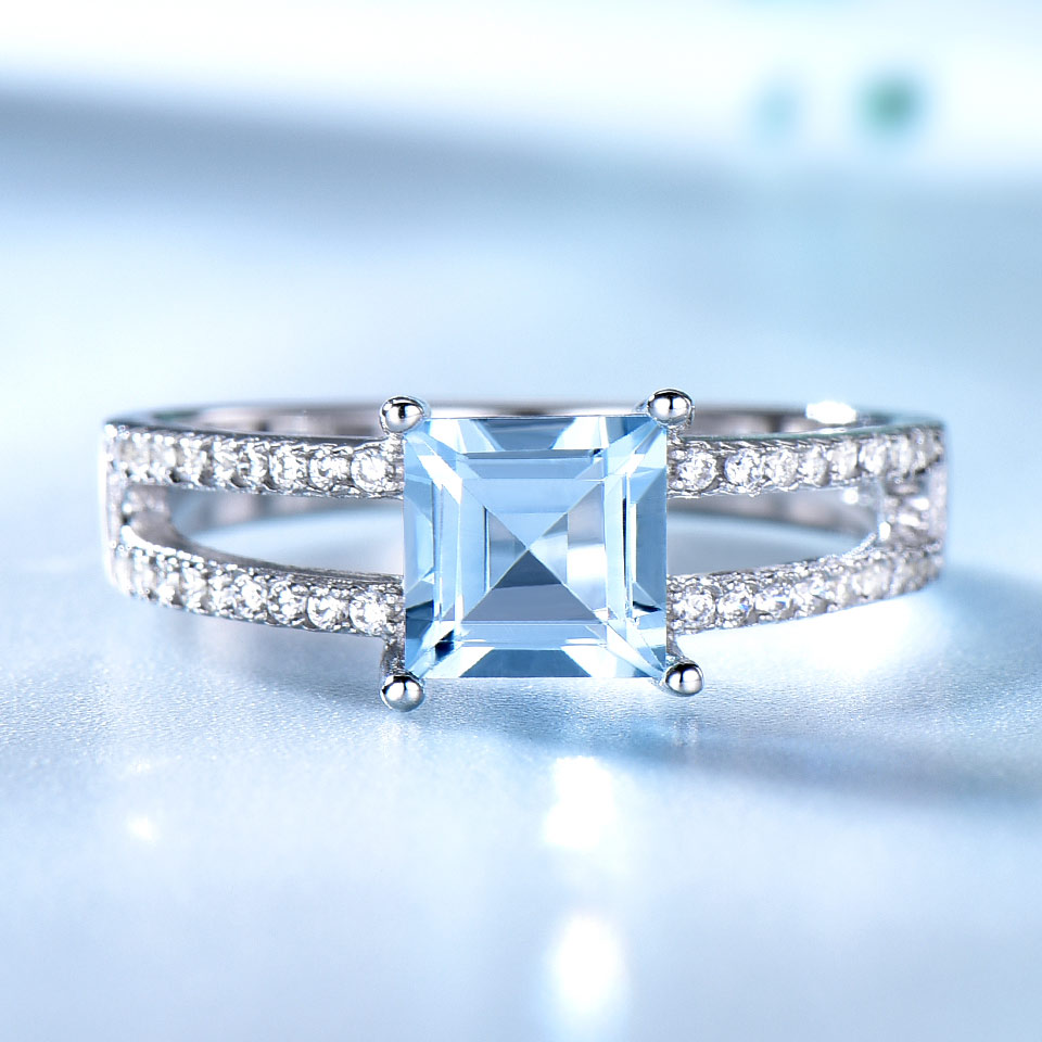 Image 2 - UMCHO Sky Blue Topaz Rings For Women 925 Sterling Silver Wedding Band Anniversary Dainty Ring Square Cut Gemstone Fine JewelryRings   -