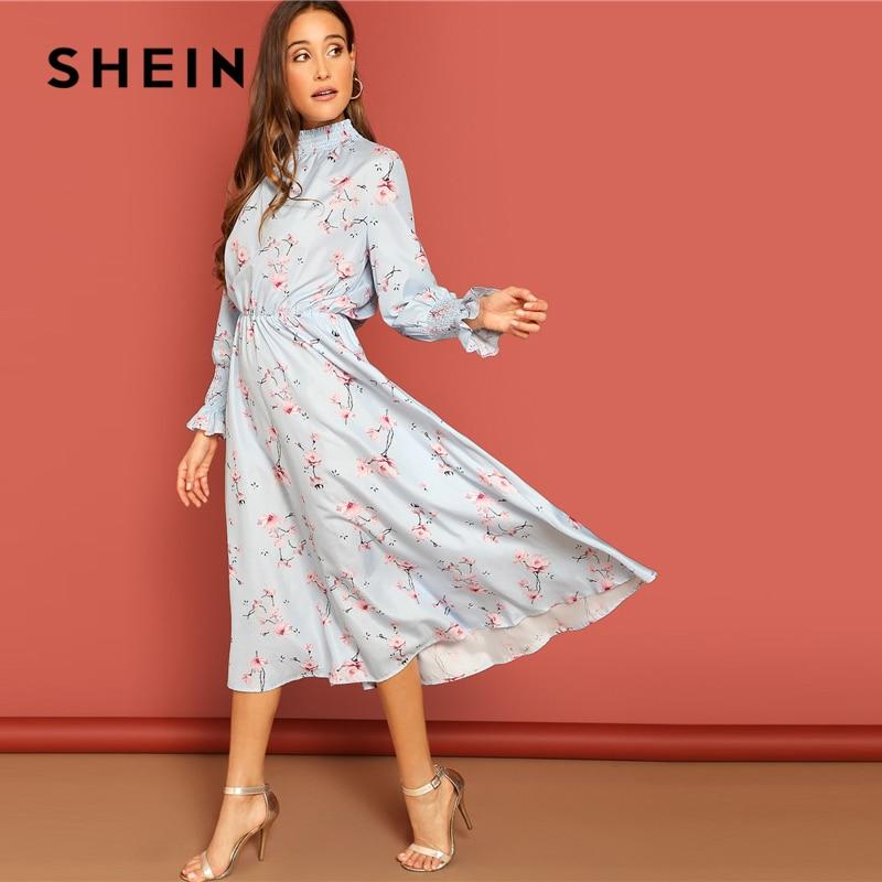 SHEIN/синее однотонное платье с высоким воротом и манжетами с цветочным принтом и высоким воротом в стиле бохо для женщин, приталенное и раскл...