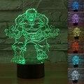 Dropshipping Nuevos Vengadores Hulk USB LED Lámpara de Mesa de Luz Gradiente de Colores Ilusión 3D Proyector de Luz Nocturna Bebé Dormitorio Gadgets