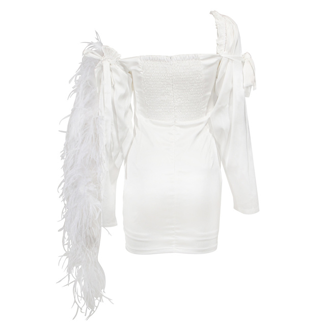 Chic Silk Feather Dress KylieJenner Night Out Off-the-shoulder Button Embellished Skintight White Mini Party Clubwear Sexy Frock 4