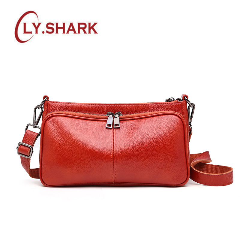 LY.SHARK Leather handbag simple multi-layer large-capacity handbags Messenger bag soft leather diagonal shoulder bag aetoo boston first layer of leather ladies handbag bag fashion simple simple large capacity handbags shoulder messenger bag
