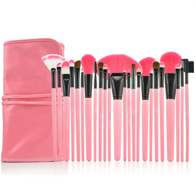 24pcs professional makeup brush/pink makeup brushes set of packages Foundation Powder blush eye shadow lip brush free shipping