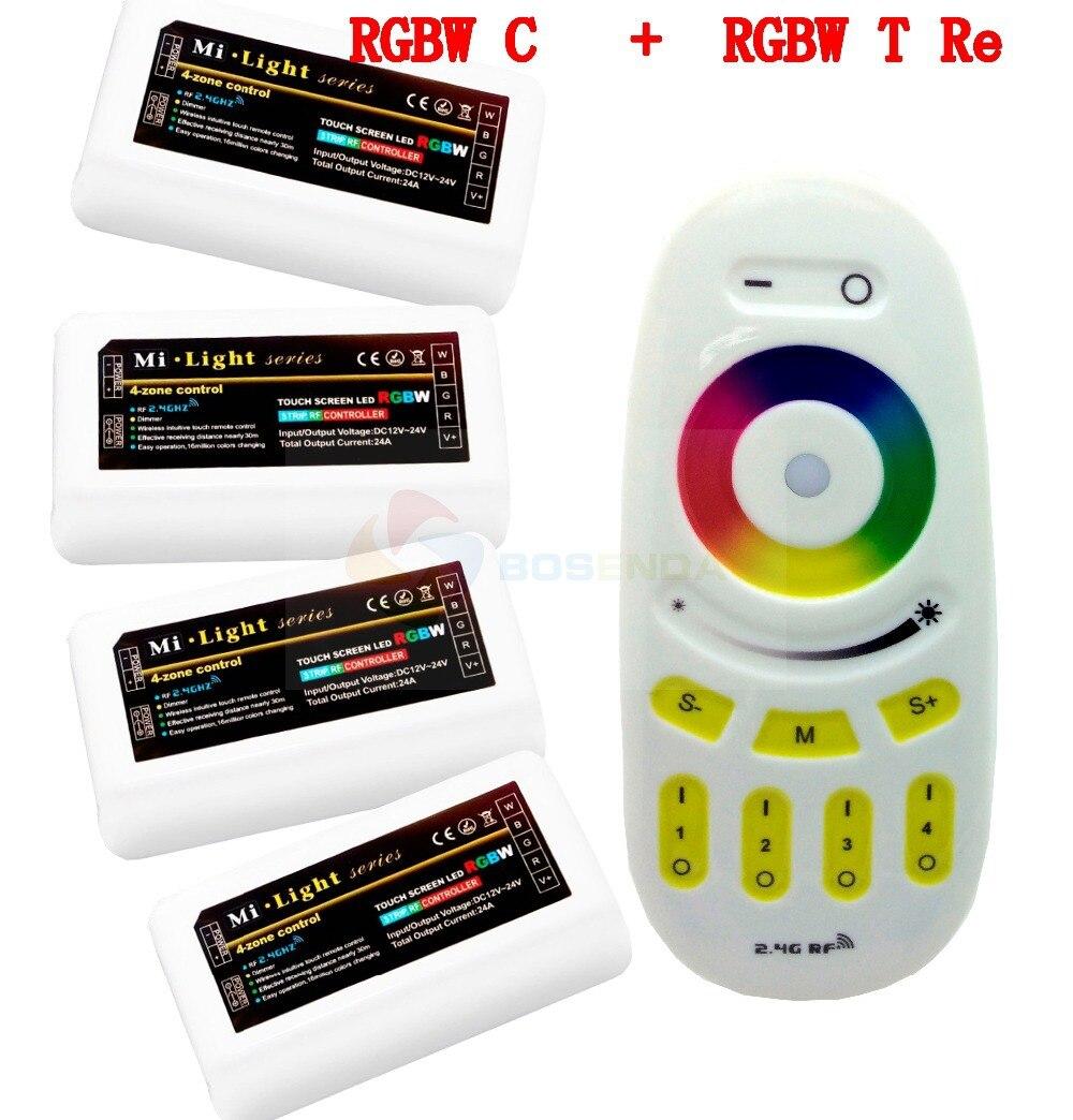 Mi-Light WiFi 4-Zone Group Wireless RF Remote Controller + 4 Pcs 2.4G DC12-24V 12A LED DIM/CCT/RGB/RGBW Controller for LED Strip milight remote wifi 4x rgbw led controller group control 2 4g 4 zone wireless rf touch for 5050 3528 rgbw led strip light