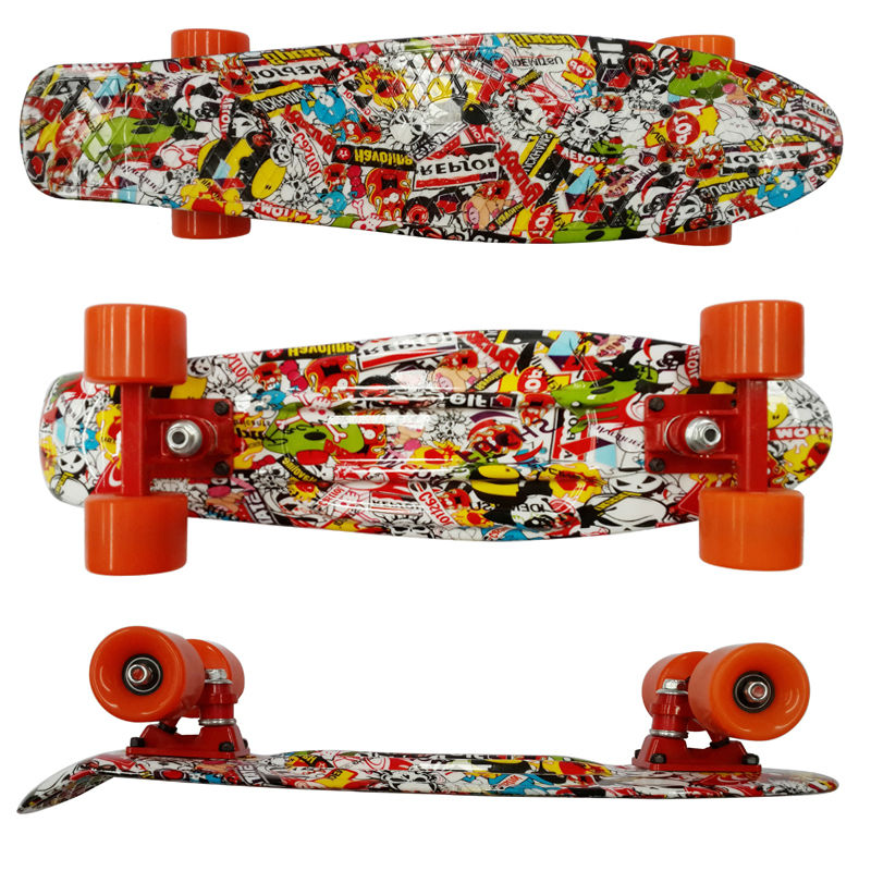 Image 5 - Colorful 22 Inch complete banana board With Color mixed pattern for Girl and boy to Enjoy the skateboarding Mini rocket board-in Skate Board from Sports & Entertainment