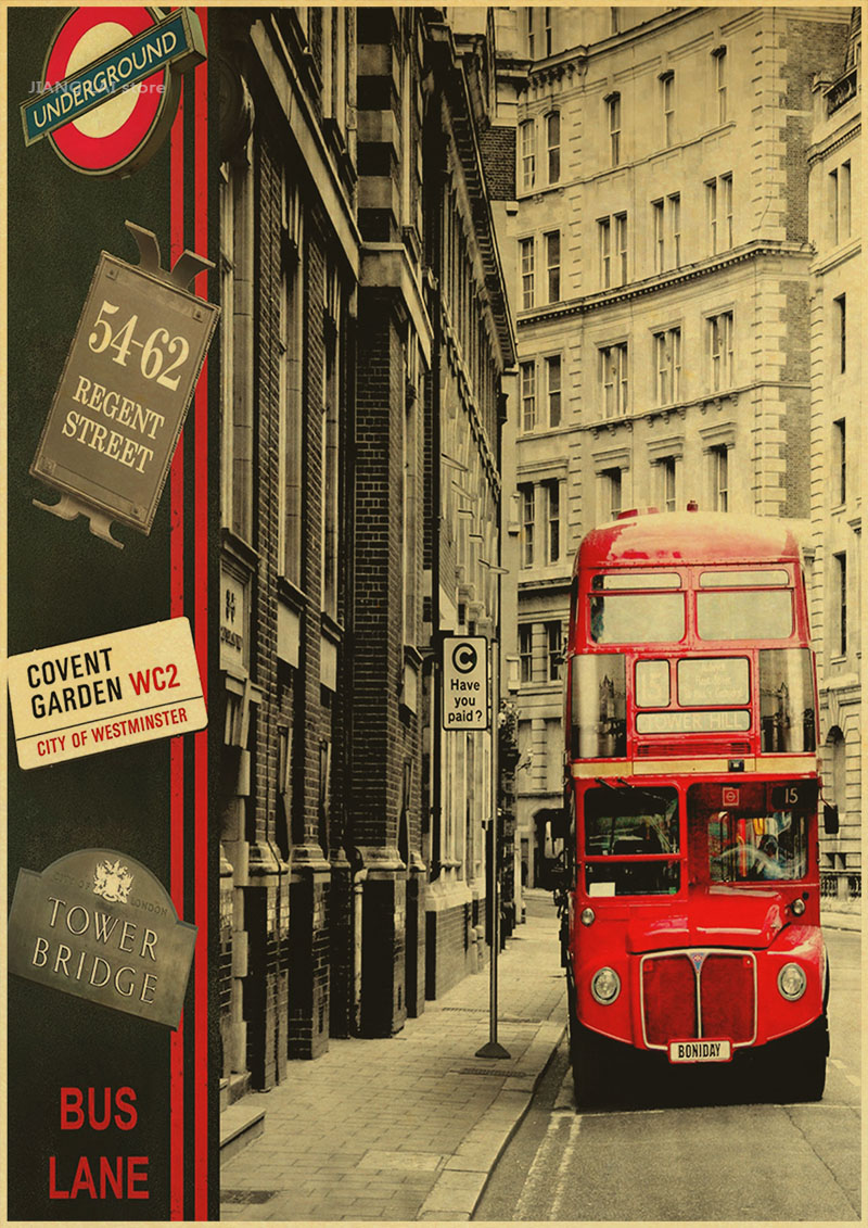 London Red Bus Street Posters Adornment Picture Vintage Poster Kraft ...