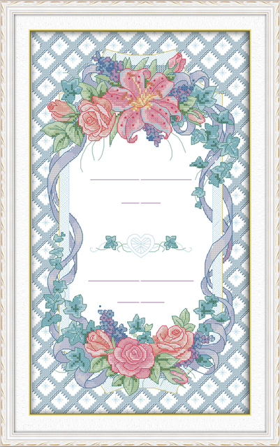 Marriage certificate cross stitch kit 14ct 11ct count print canvas - marriage certificate
