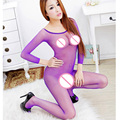 Women Sexy Open Crotch Bodystocking Long Sleeve Sexy Lingerie Transparent Lace Teddies Bodysuit Costume