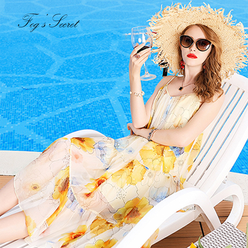 2019 Women Dress Real silk Loose Irregular Art Painting Print Dress vestidos casuais 100% Silk braces dress summer