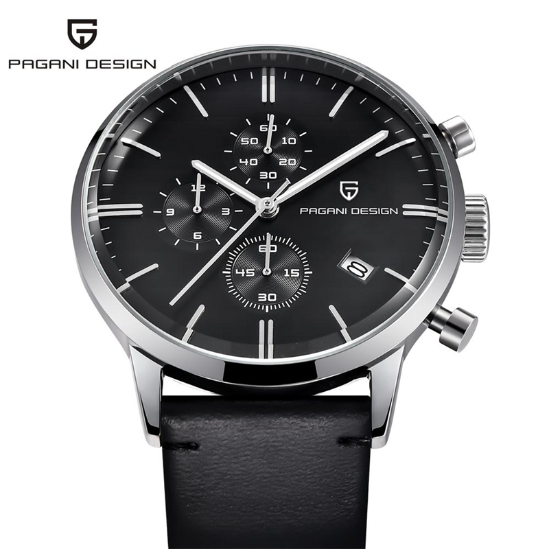 PAGANI DESIGN Luxury Brand Chronograph Watch Waterproof Genuine Leather Wristwatch Military Quartz Watches Men Relogio Masculino pagani design business casual leather men s watches fashion sport utility chronograph military watches relogio masculino 2016