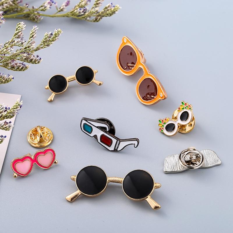 0dabe22b1ea2 i-Remiel Fashion New Women Enamel Brooch Sunglasses Glass Shape Alloy  Brooches Lapel Pin Badge