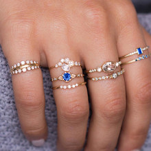8 Pcs/set Fashion Flower Midi Sets Gossip Moon Star Crown Retro Crystal Opal Knuckle Rings for Women Jewellery(China)