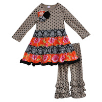 Fall Winter Children Coffee Polka Dots Sleeve Dresses Clothes Baby Outfits Kids Ruffle Pants Boutique Girls