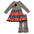 Otoño invierno niños vestidos de lunares manga de café ropa de bebé trajes niños ruffle pantalones boutique de ropa de las muchachas fija F111