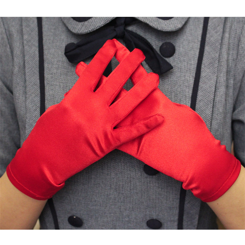 Graceful 1 Pair Women's Short Red Satin Gloves Etiquette Glossy High Quality Black White Wrist Gloves Full Finger Anti-UV Gloves