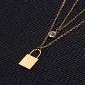 New style Fashion Jewelry Two Layers Stainless Steel Luxury Women Gold Plated Long Necklaces & Lock Pendants for Women Girls
