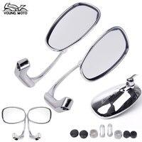 Round Chrome CNC Aluminum M10 Universal Motorcycle Side Handlebar Rear View Mirrors For Yamaha Kawasaki Honda