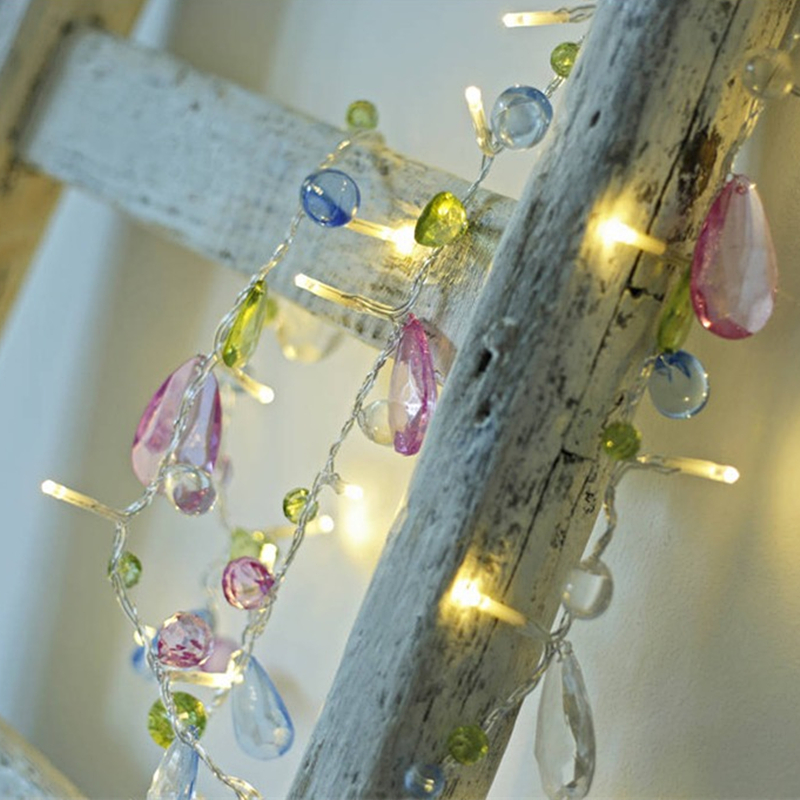 1.5M 10LED Fairy Crystal Bead String Light Christmas Tree Garland Battery Decorative Holiday Wedding Party Home Decoration Led Pakistan