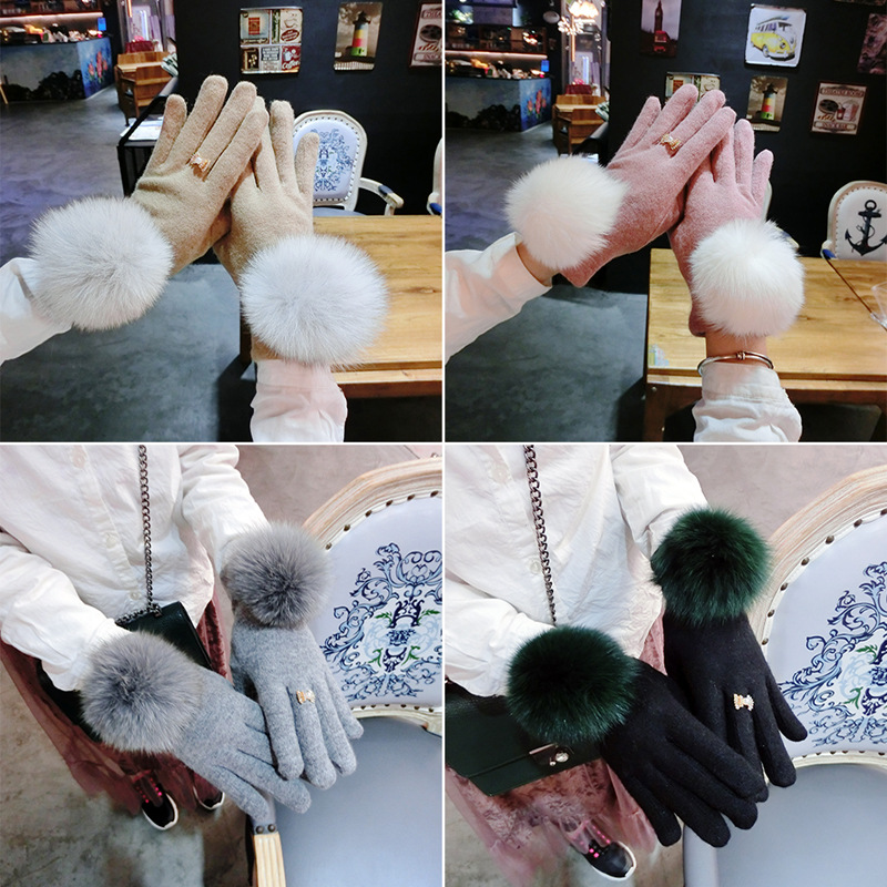 S512 Fox fur ball autumn and winter cashmere warm female simple temperament finger gloves touch screen