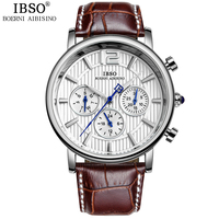 IBSO Mens Watches Top Brand Luxury High Quality Stainless Steel Watch Men Multifunction Genuine Leather Fashion