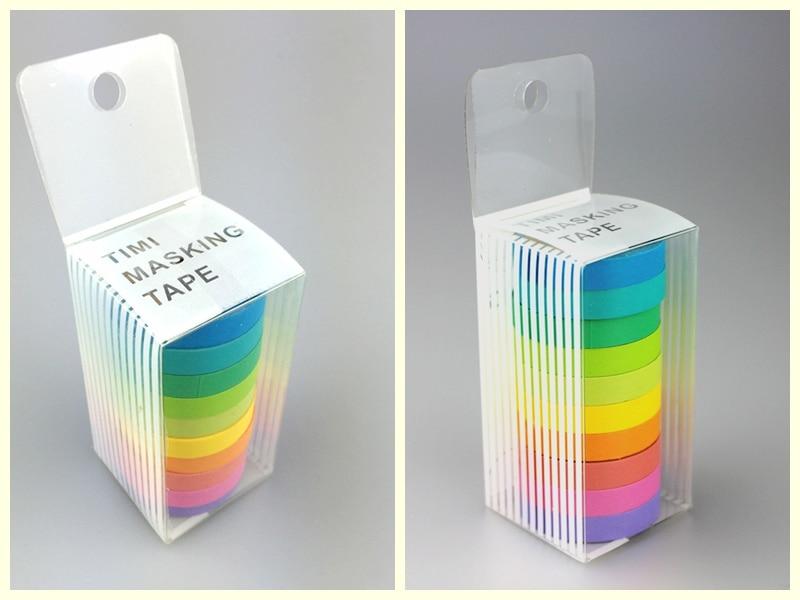 10x Rainbow Solid Color Washi Sticky Paper Masking Adhesive Printing Scrapbooking Deco DIY Tape ,Masking Japanese Washi Tape Lot