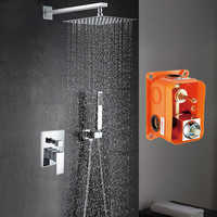 Free Shipping Wall Mounted Shower Set With 8 Abs Plastic Rain Shower Brass Hand Shower Embedded