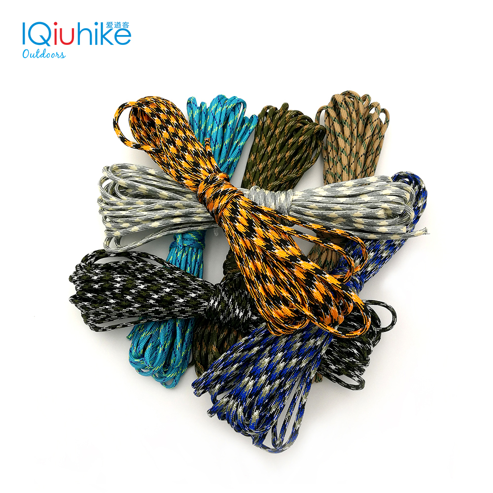 Camouflage 100FT (5-31M) Paracord 550 Parachute Cord Lanyard Mil Spec Type III 7 Strand Camping Survival Equipment Tents Rope iqiuhike multifunction parachute 550 popular type iii 7 strand paracord cord lanyard mil spec core 100ft camping survival tool