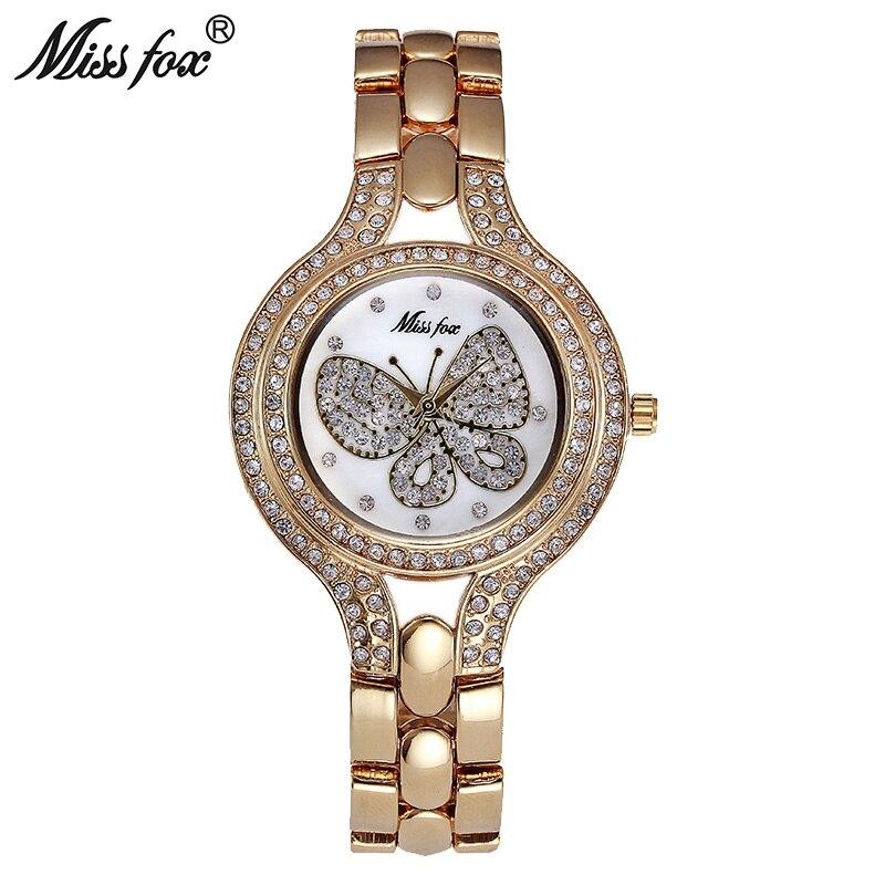 Miss Fox 37mm Watch Fashion Gold Butterfly Diamond Teenage Girls Watches Women Stainless Steel Back Water resistant Golden Clock