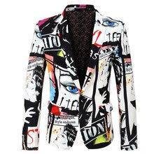 Suit jacket mens fashion print blazer  large size S-XXXL best selling slim casual hip hop singer suit