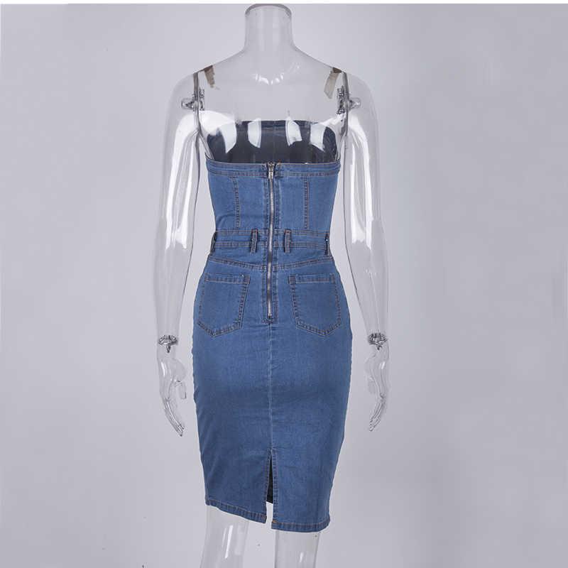 Женское элегантное клубное платье NewAsia Garden, джинсовое летнее повседневное платье без бретелей, привлекательное коктейльное джинсовое платье, джинсовые облегающие платья