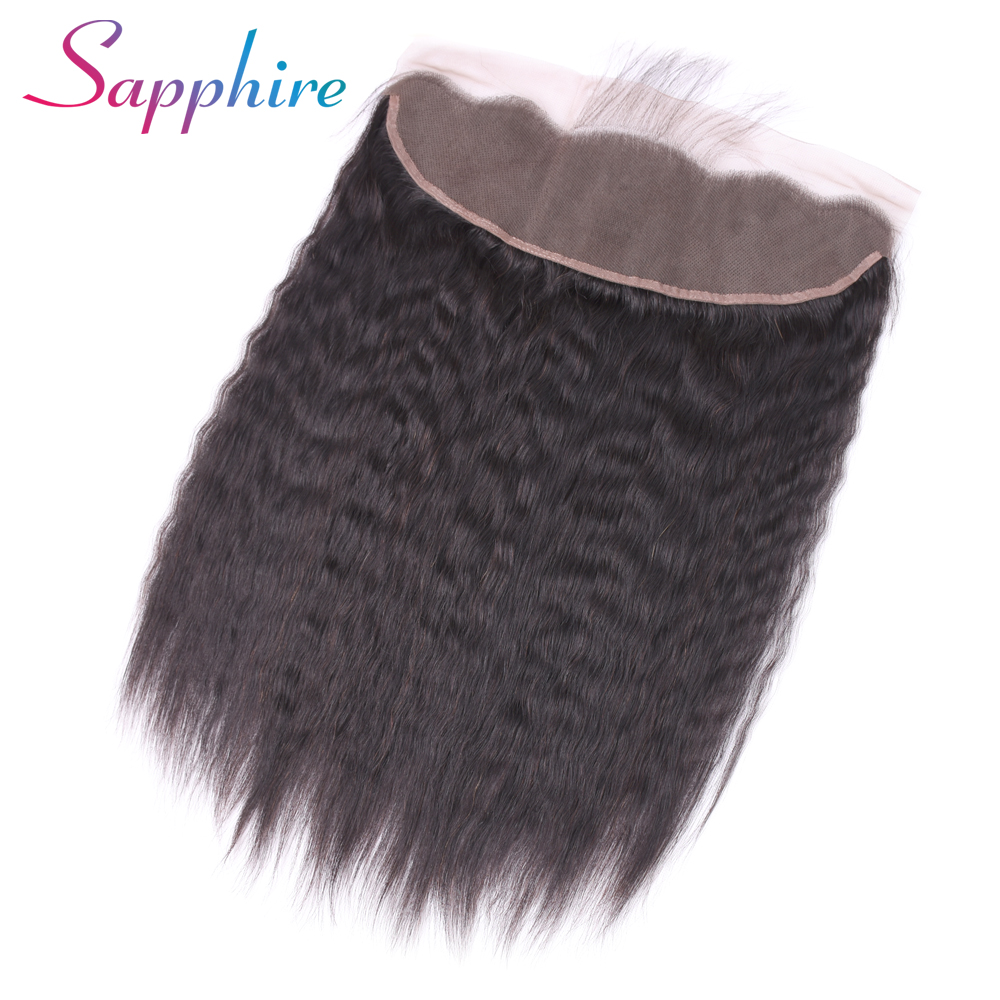 Sapphire Peruvian Kinky Straight Lace Frontal Closure With Baby Hair Non Remy Human Hair 13x4 Ear