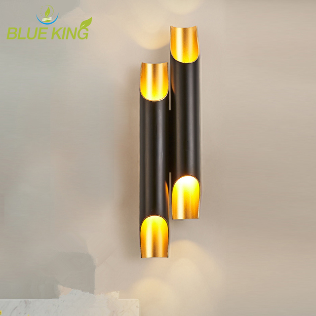 Creative Double Heads Aluminum Pipe Lamp Cylinder Wall Lights Bar Coffee Shop Restaurant Living Room Bedroom Wall Lamp